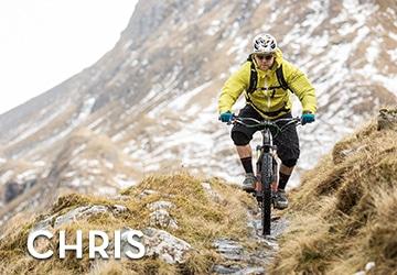 Scotland Yeti Tribe guide Chris Gibbs descending some technical trails in Scotland