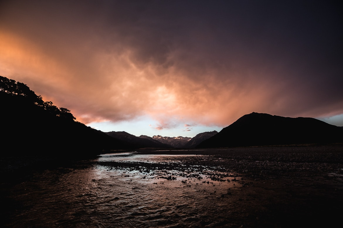 Stunning sunset near Arthur's Pass during the International Yeti Tribe New Zealand mountain bike tour.