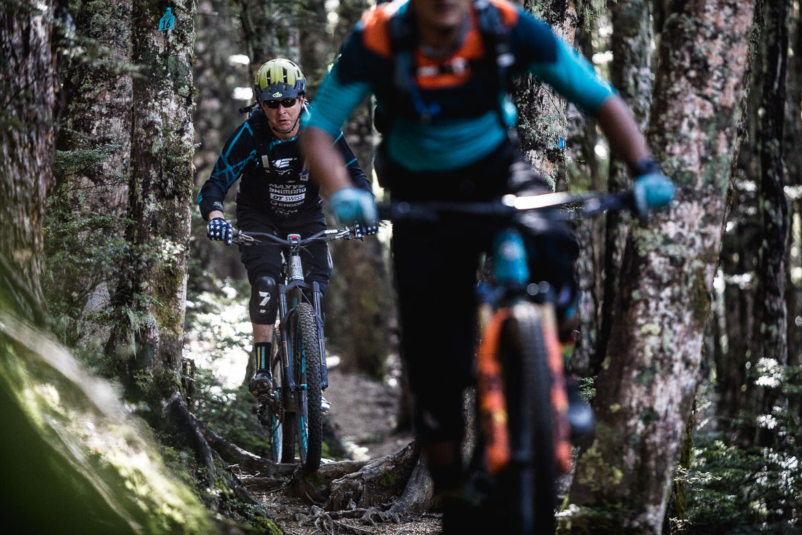 Mountain bikers riding in the Beech Woods of Craigieburn during the International Yeti Tribe New Zealand mountain bike tour.