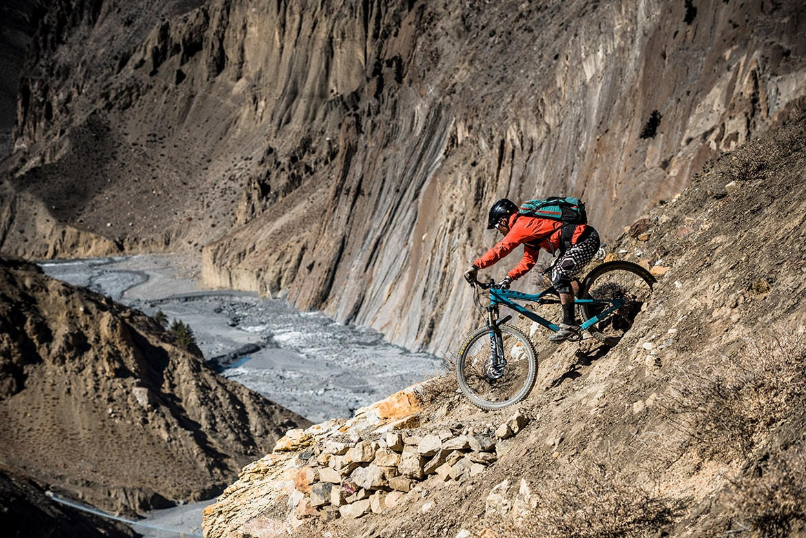 a1e40a35021 Top 10 mountain bike trails - Mountain bikers riding the Lupra Pass during  our mountain bike