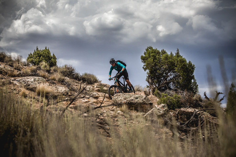 Riding in the desert of Fruita during our mountain bike tour Colorado.