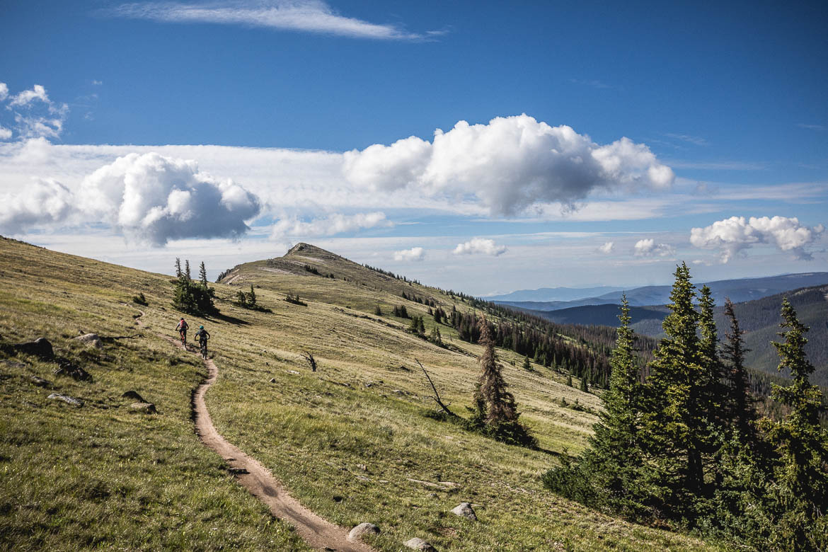 Riding monarch crest trail during our mountain bike tour Colorado.