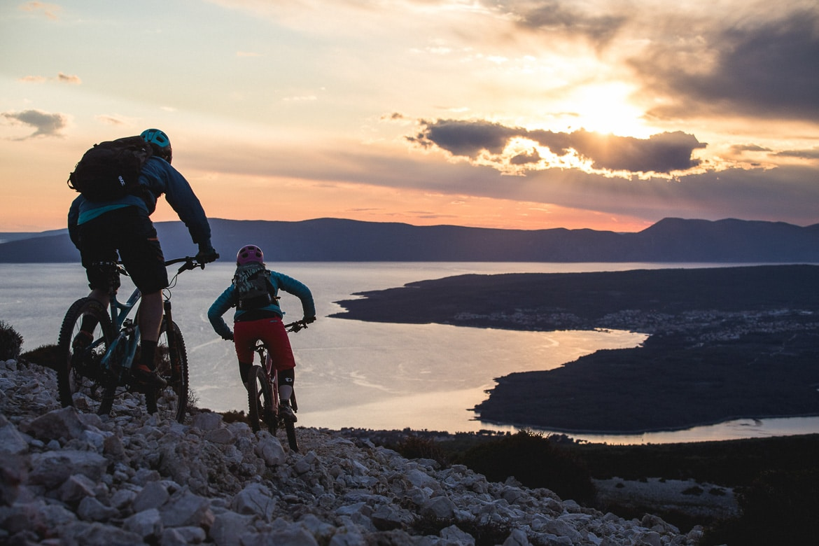 Sunset riding on Krk Island, Croatian mtb scene. One of our mountain biking adventures in Europe.