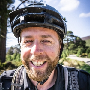 Local mountain bike tour guide Colin Mabbett