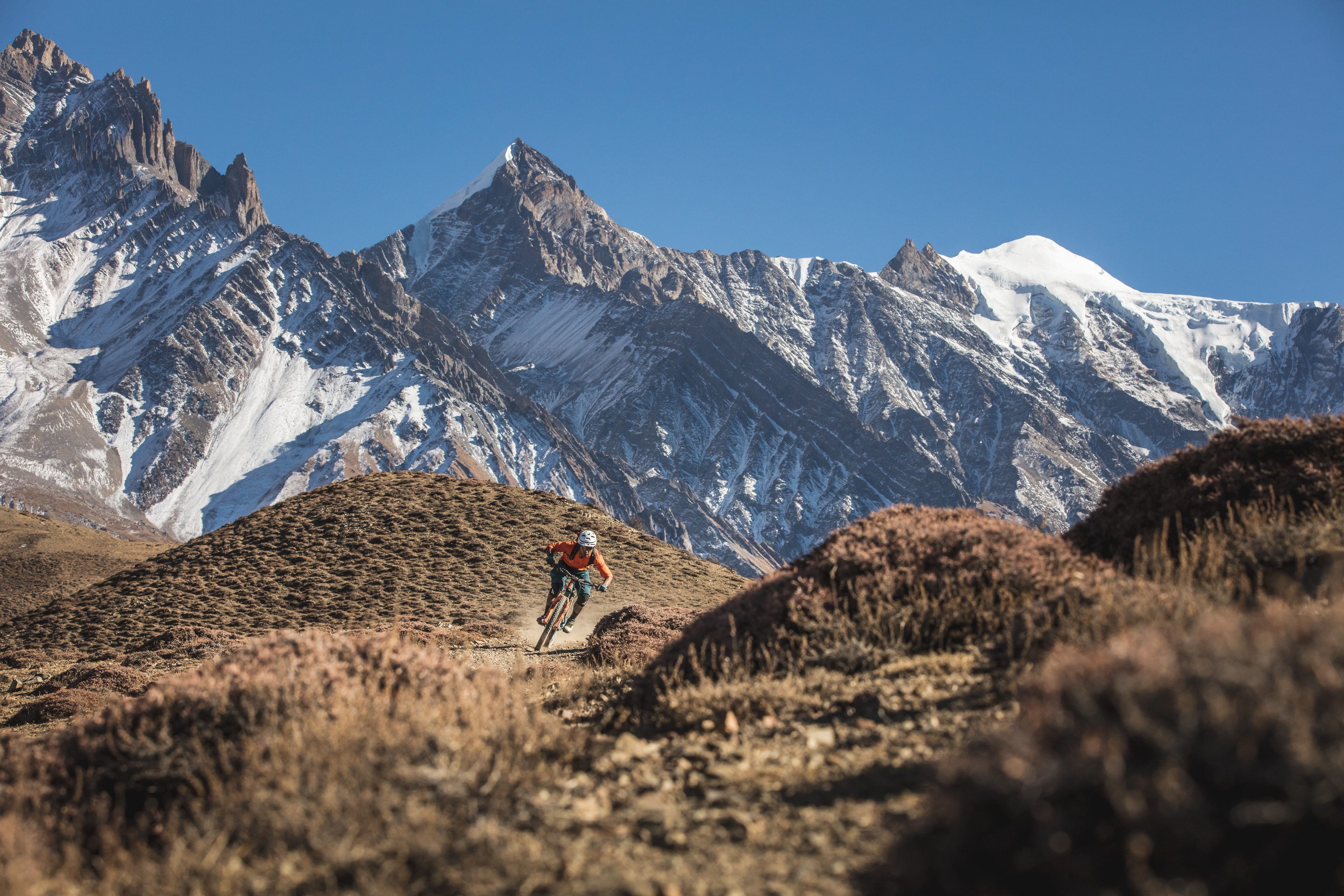 RJ Ripper riding in his happy place, Mustang Region of Nepal with H+I Adventures MTB holiday