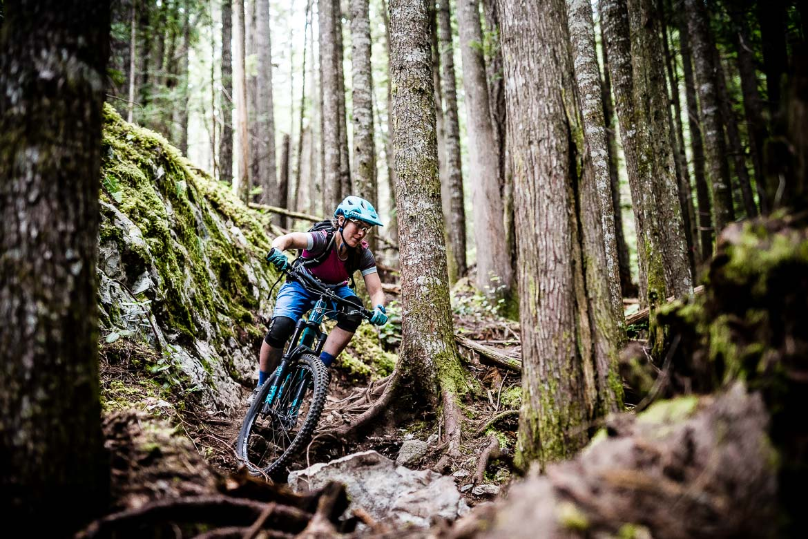 Marissa keeping her eyes on the prize as she mountain bikes in British Columbia in Canada. As part of our best mountain bike tricks.