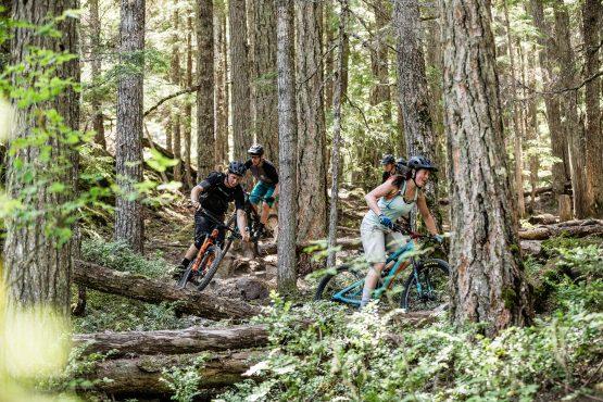 Mountain bike train on pristine singletrack in BC, Canada