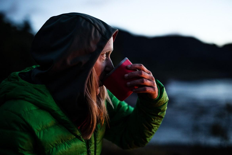 Drinking a hot cup of tea, bikerafting Scotland