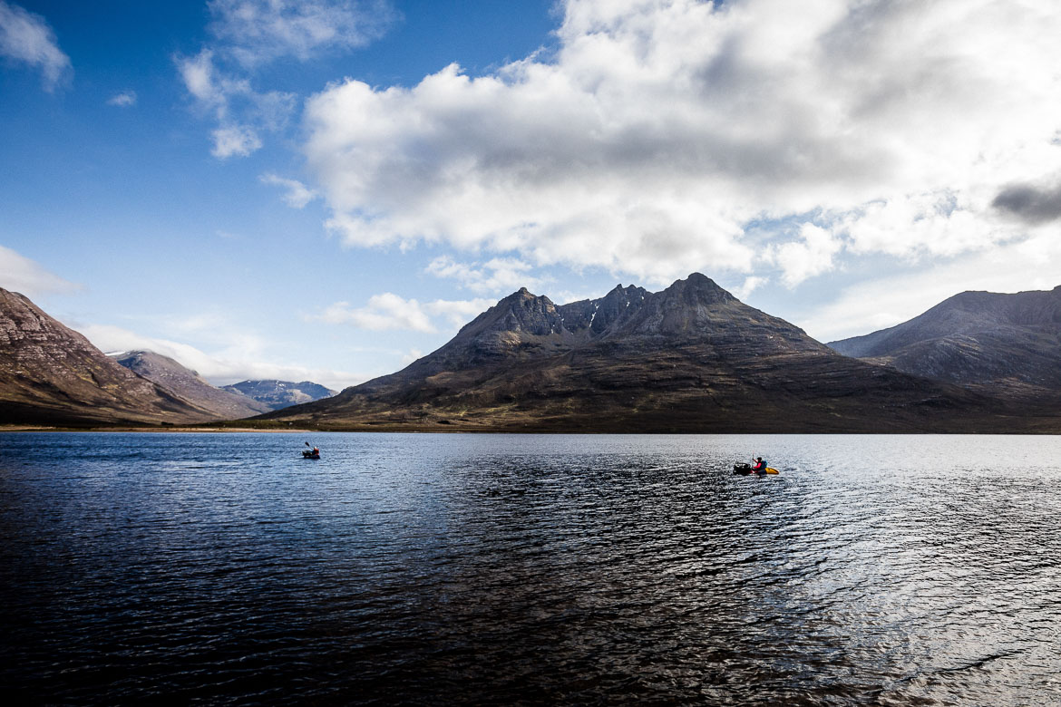 Bikerafting on a windy day in the Scottish Highlands