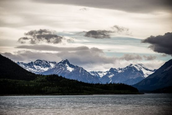 Stunning views and snowy summer peaks on our mountain bike tour Yukon, Canada