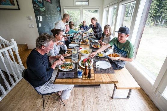 Fine food and great company on our MTB vacation in the Yukon Territory, Canada