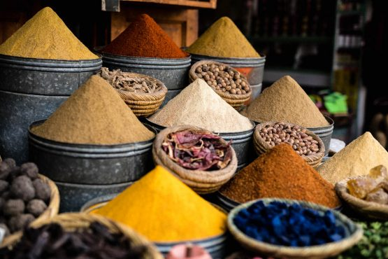 The spice trade in Marrakech, Africa on our mountain bike tour Morocco. Part of our favourite tips for 24 hours in Marrakech in this handy city guide.