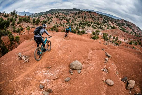 Eric and Euan descend trails on our Mountain bike tour Morocco