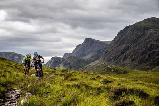 Playing through turn on the coast-to-coast Scotland MTB tour