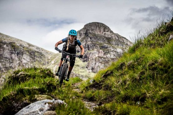 Technical moutnainbbike terrain on our coast-to-coast Scotland mountain bike tour
