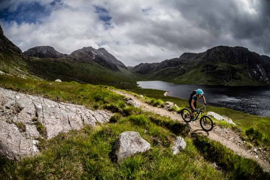 Flowy singletrack on the coast-to-coast Scotland mountain bike vacation