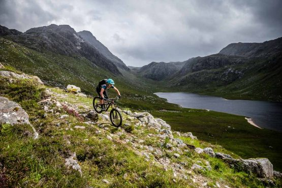 Technical trails on the coast-to-coast Scotland MTB tour