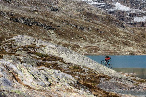 Yeti tribe gathering Switzerland - mountain bike tour rounding glacial lakes