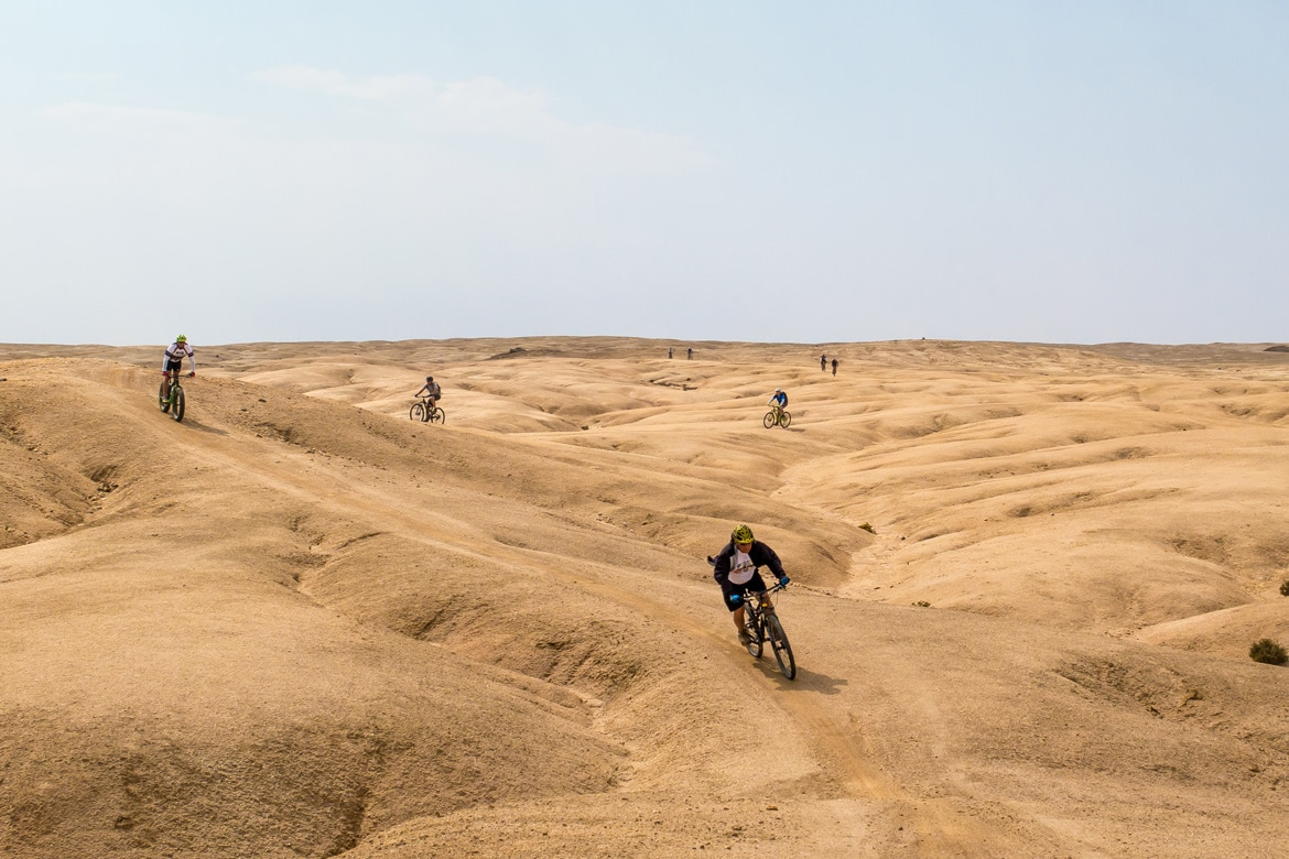 Mountain biking on sand in Namibia, mountain bike adventures Africa