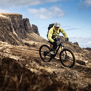 Riding The Quirang as part of a mountain bike tour Torridon and Skye.