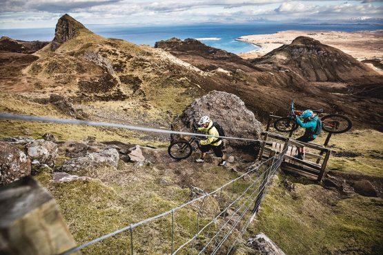 Mountain biking the Quiraing, part of our mountain bike tour Torridon and Skye.