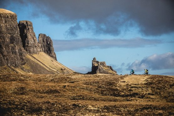 Small riders in a big landscape during a mountain bike tour Torridon and Skye.