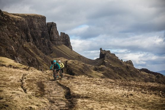 The backdrop of the Quiraing whilst on a mountain bike tour Torridon and Skye.