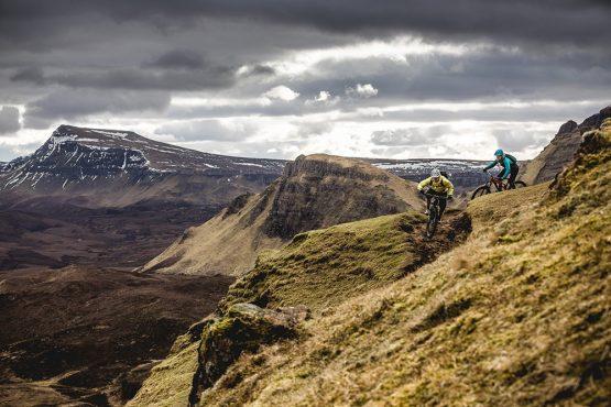 Riding the Quiraing during our mountain bike tour Torridon and Skye.
