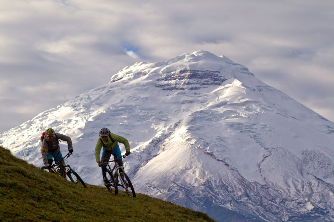 Riding on volcanoes in Ecuador as part of a mountain bike adventures South America