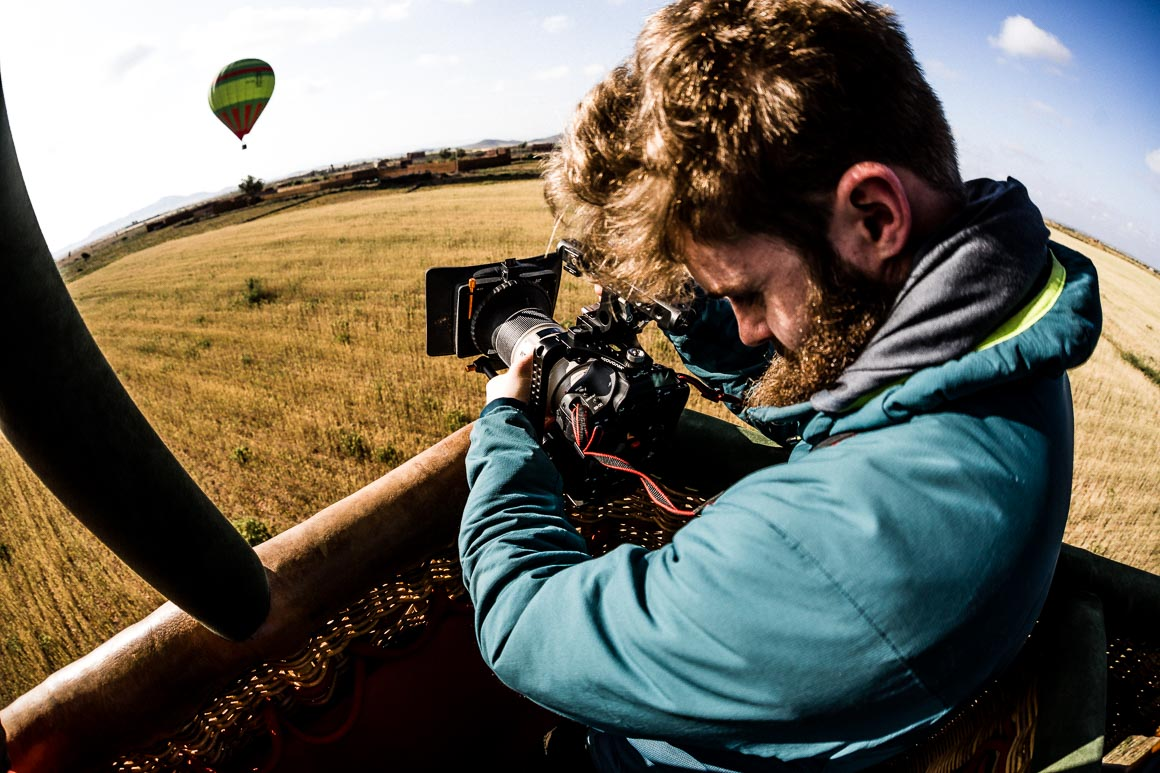 Filming a hot air balloon ride in Morocco. One of our highlights of 2018.