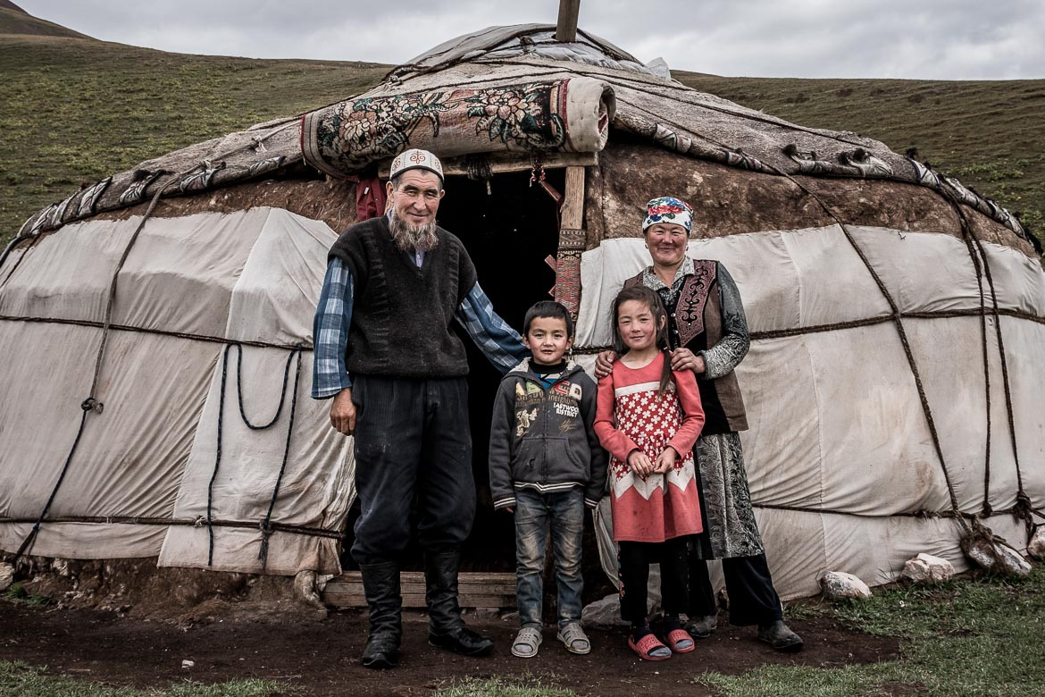 A local family whilst Mountain biking in Kyrgyzstan.