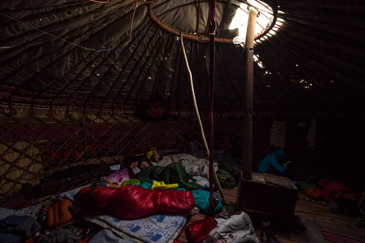 Sleeping in a yurt whilst Mountain biking in Kyrgyzstan.