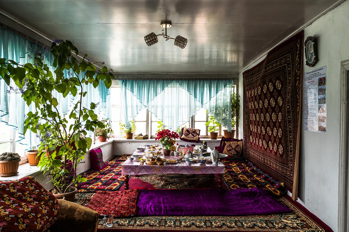 The interior of a home in Kyrgyzstan whilst Mountain biking in Kyrgyzstan