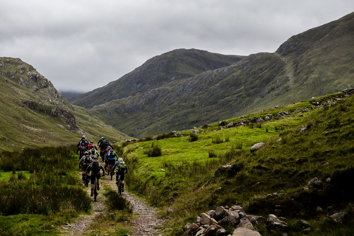 Riding into a glen on the Yeti Tribe Scotland