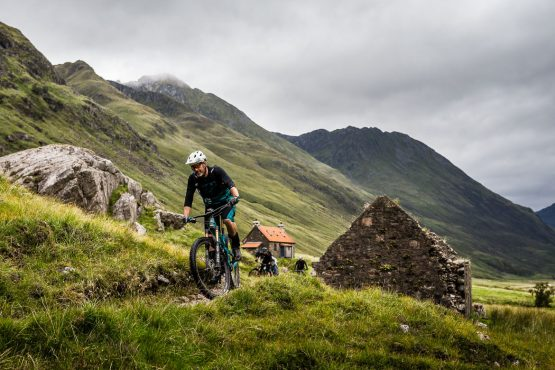 Passing through old farm cottages during a Mountain bike tour Torridon and Skye