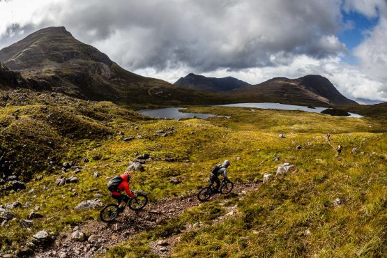Passing through impressive scenery in a Mountain bike tour Torridon and Skye