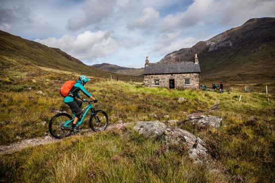 Resting at a bothy during a Mountain bike tour Torridon and Skye