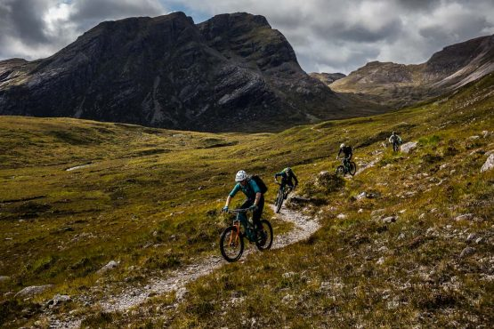 A group of riders on the Mountain bike tour Torridon and Skye