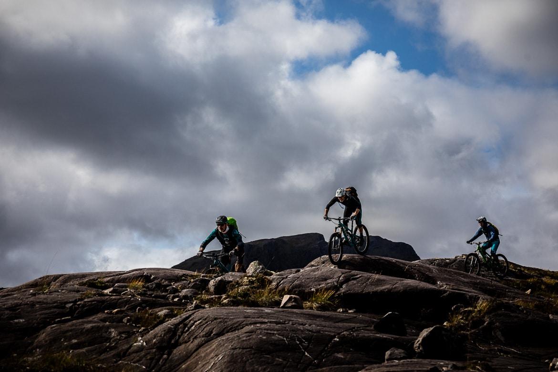 Riding the Achnashellach descent during a Mountain bike tour Torridon and Skye