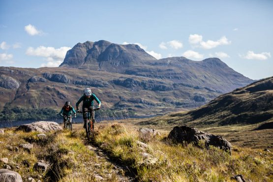 Riding in the Highlands of Scotland during a Mountain bike tour Torridon and Skye