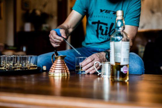 Drinking whisky on a mountain bike tour Torridon and Skye