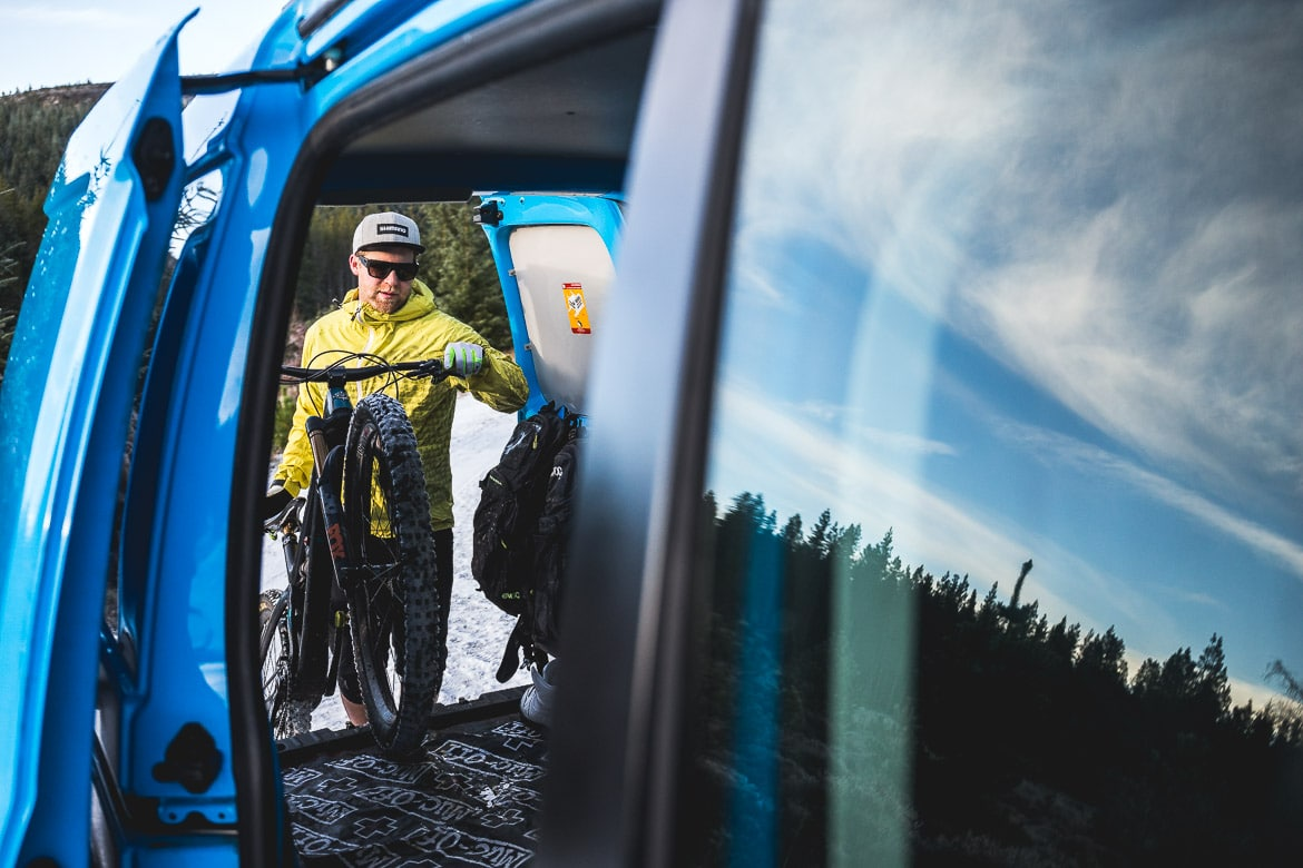 Heading home after a day with local Aviemore mountain bike guide Chris Gibbs