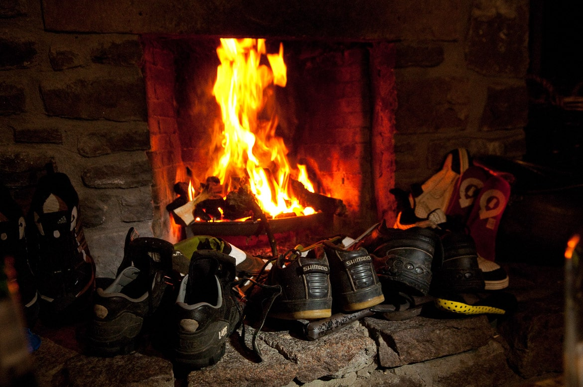 Drying shoes after heli-Biking with Danny MacAskill, Steve Peat, Hans Rey in the Torridon mountains and Isle of Skye