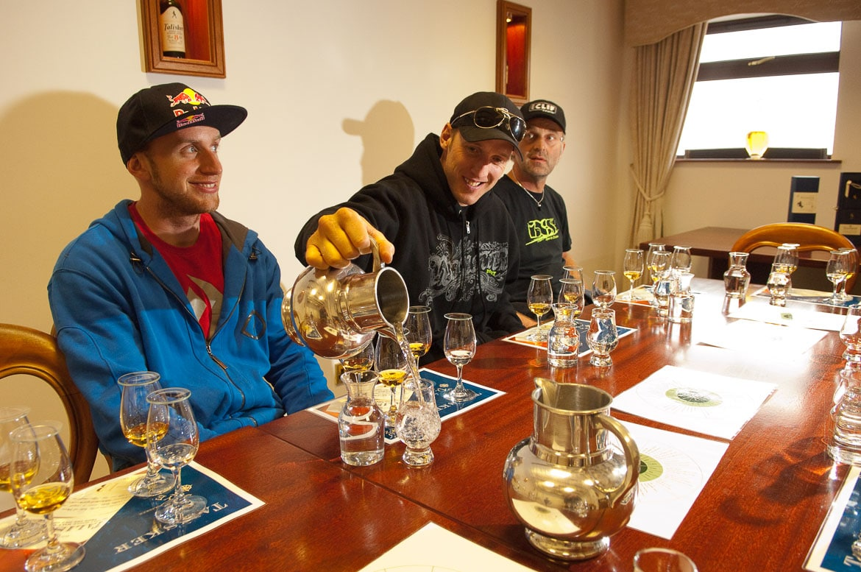 Visiting Talisker distillery before heli-Biking with Danny MacAskill, Steve Peat, Hans Rey in the Torridon mountains and Isle of Skye