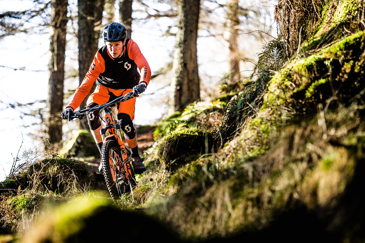 Mountain biking in Dunkeld, part of ride with Scotty Laughland tour.