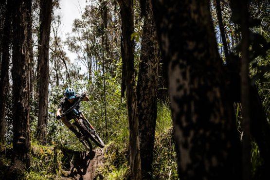 Getting some air on our mountain bike tour Ecuador