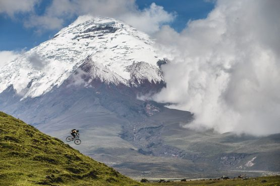 Getting air on our mtb tour Ecuador