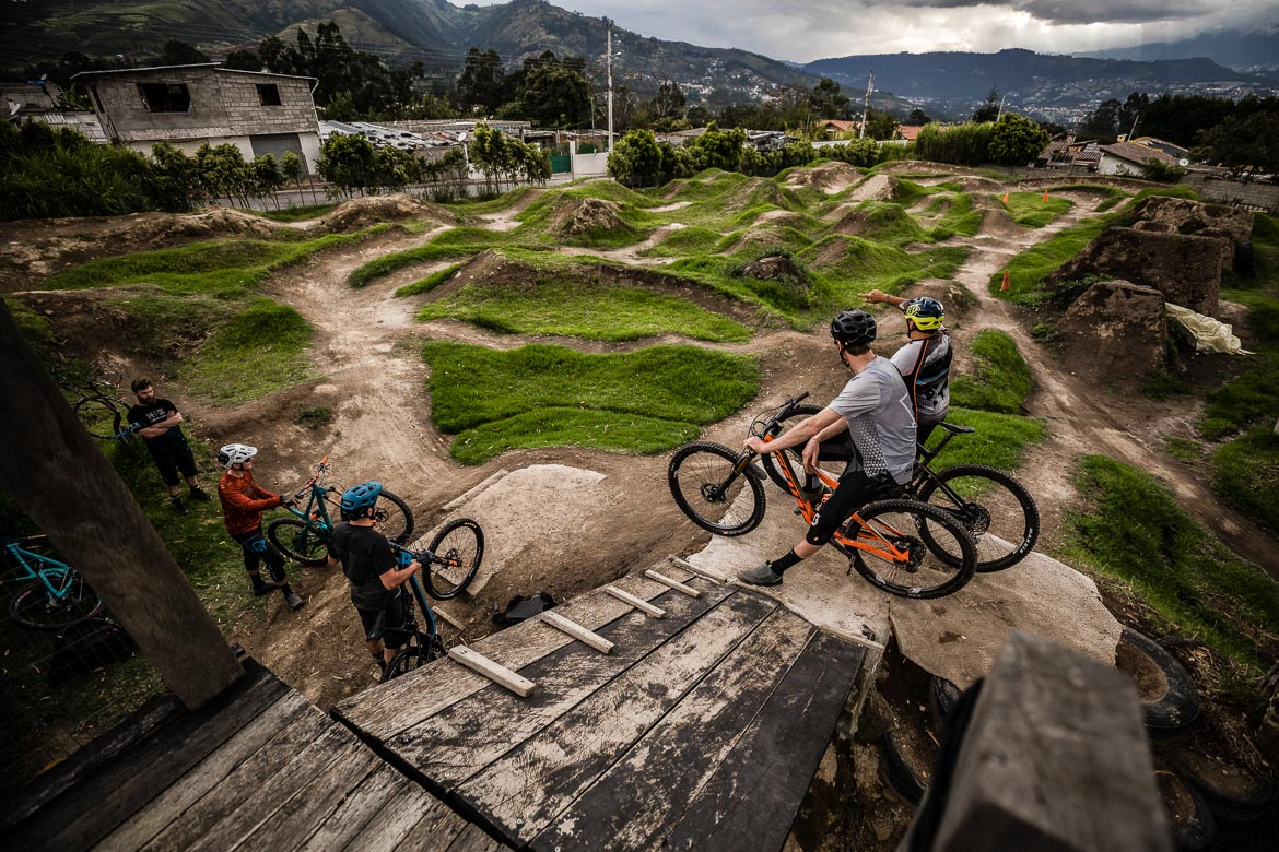 Overlooking the Campo Bici pump track in Quito, run by local mountain bike guide Ecuador.