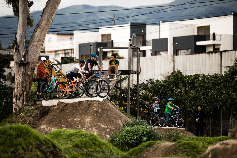 Riding at local mountain bike guide Ecuador José Jijon's pump track.