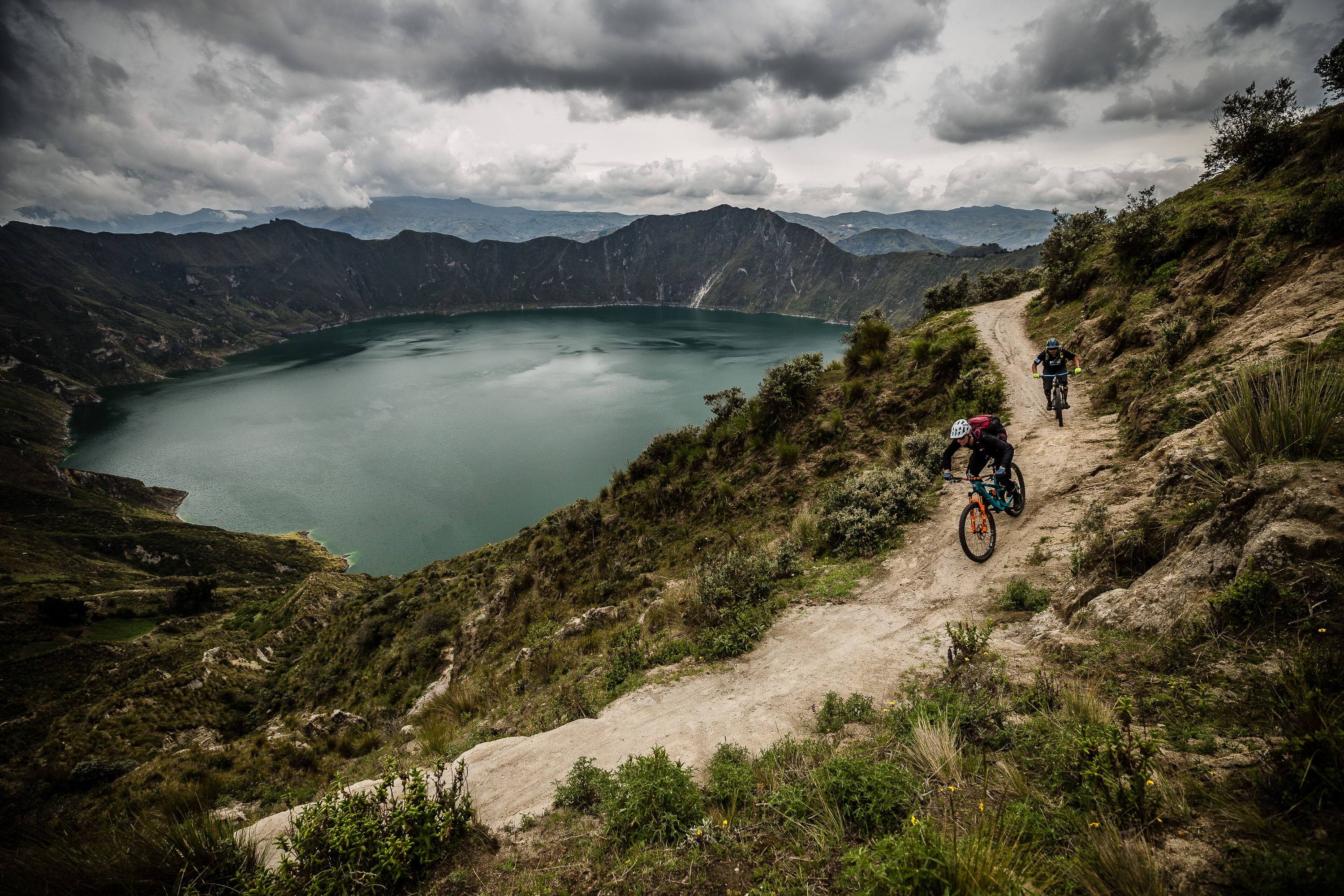 Racing past Quilotoa in the west Andes - Ecuador MTB Film